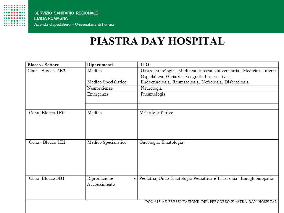 PIASTRA DAY HOSPITAL Blocco / Settore Dipartimenti U.O.