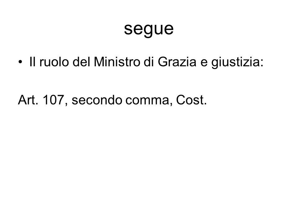 segue Il ruolo del Ministro di Grazia e giustizia: