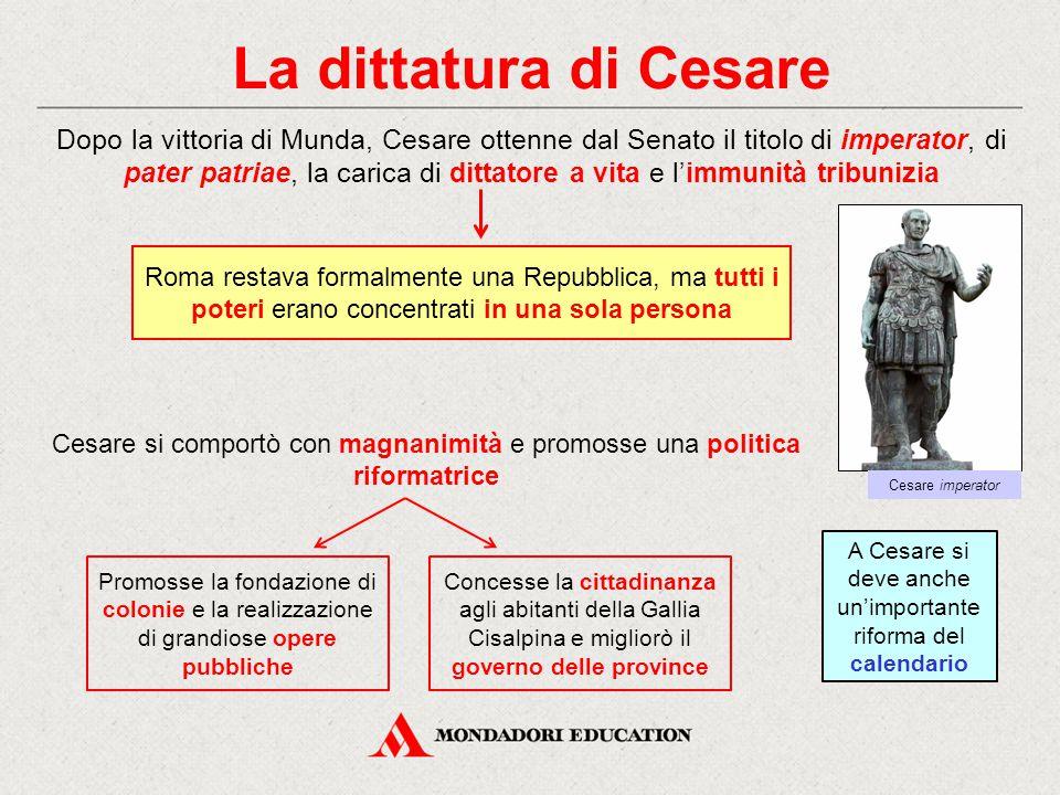 A Cesare si deve anche un'importante riforma del calendario