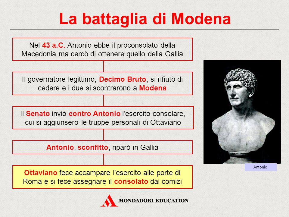 Antonio, sconfitto, riparò in Gallia
