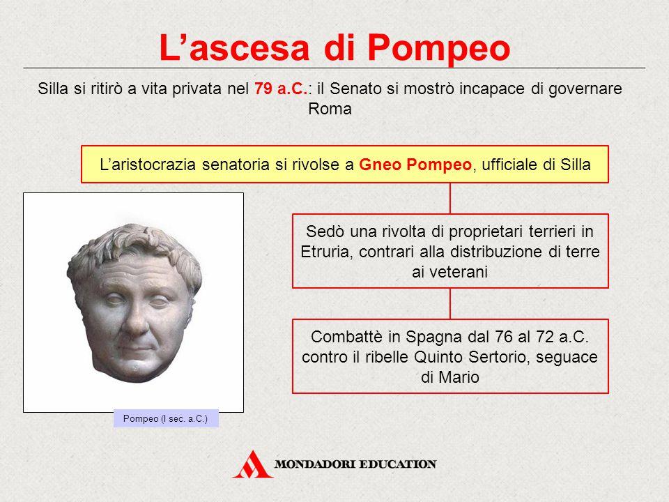 L'aristocrazia senatoria si rivolse a Gneo Pompeo, ufficiale di Silla