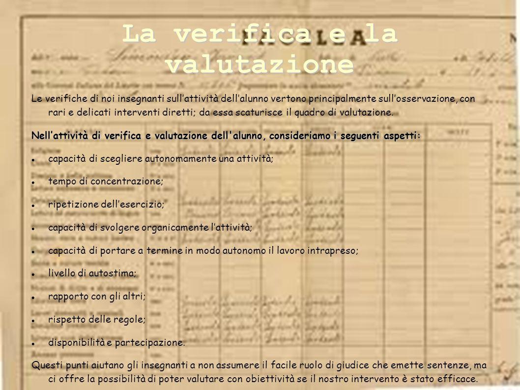 La verifica e la valutazione