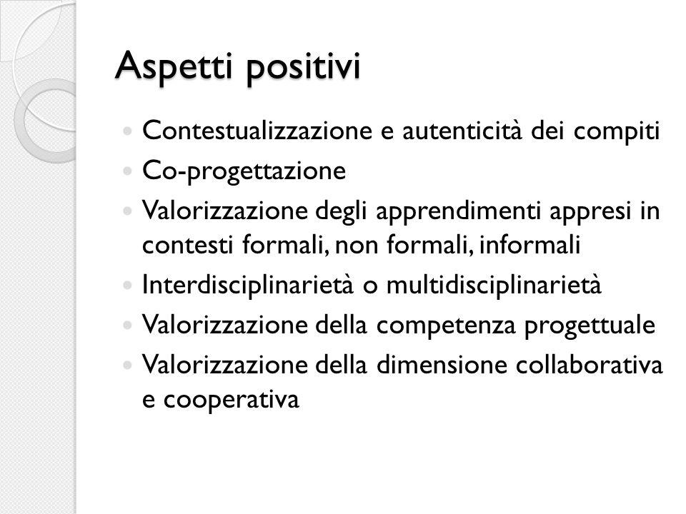 Aspetti positivi Contestualizzazione e autenticità dei compiti