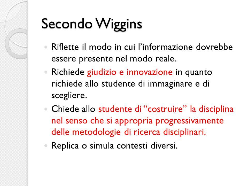 Secondo Wiggins Riflette il modo in cui l'informazione dovrebbe essere presente nel modo reale.