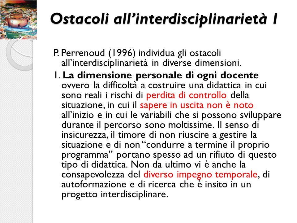 Ostacoli all'interdisciplinarietà 1