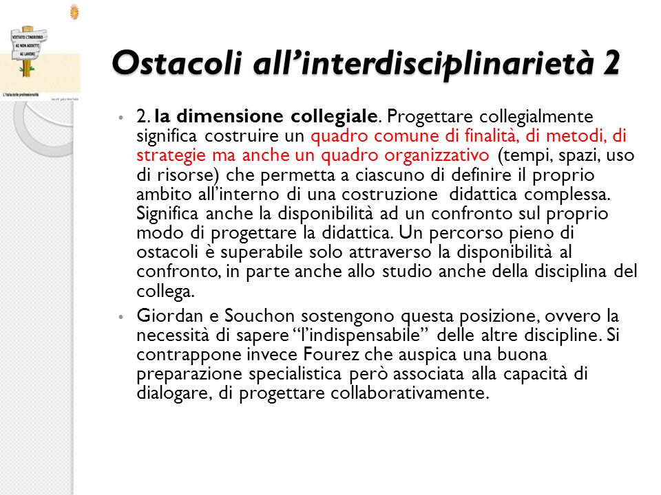 Ostacoli all'interdisciplinarietà 2