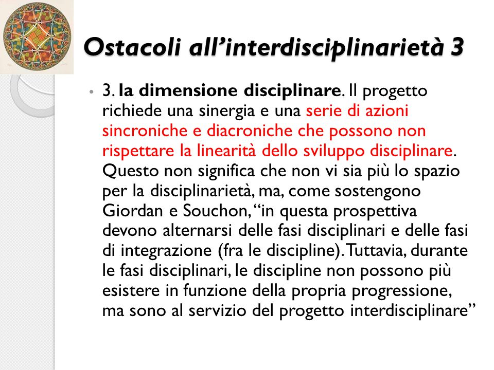 Ostacoli all'interdisciplinarietà 3