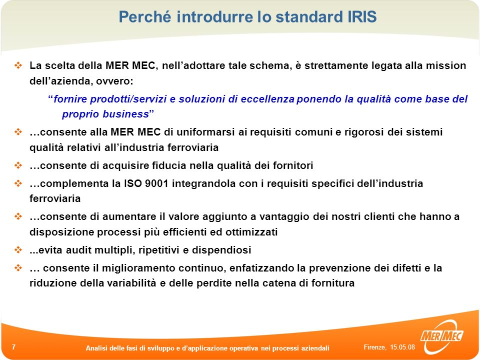 Perché introdurre lo standard IRIS