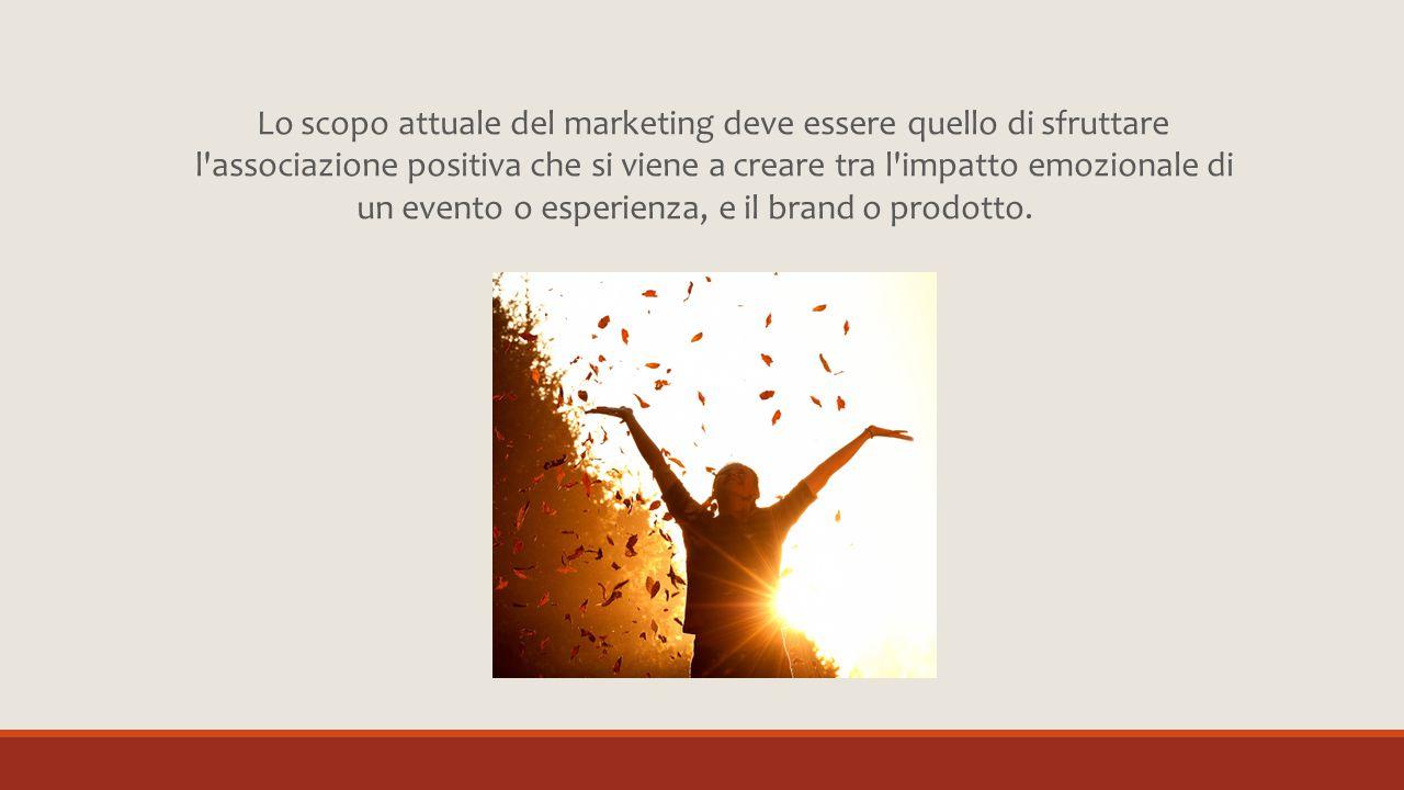 Lo scopo attuale del marketing deve essere quello di sfruttare l associazione positiva che si viene a creare tra l impatto emozionale di