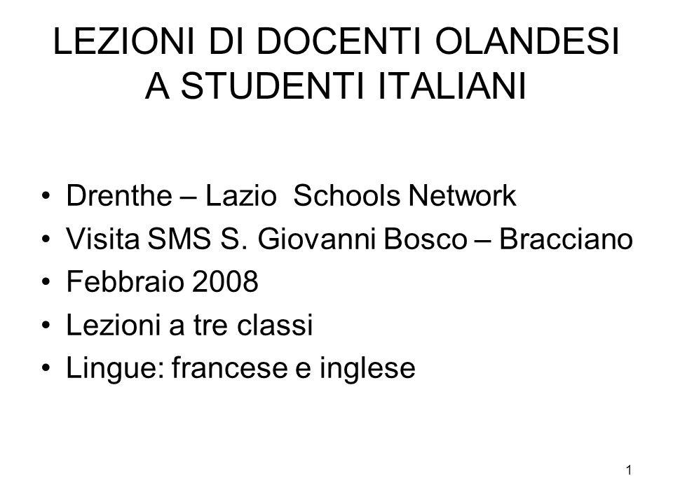 LEZIONI DI DOCENTI OLANDESI A STUDENTI ITALIANI
