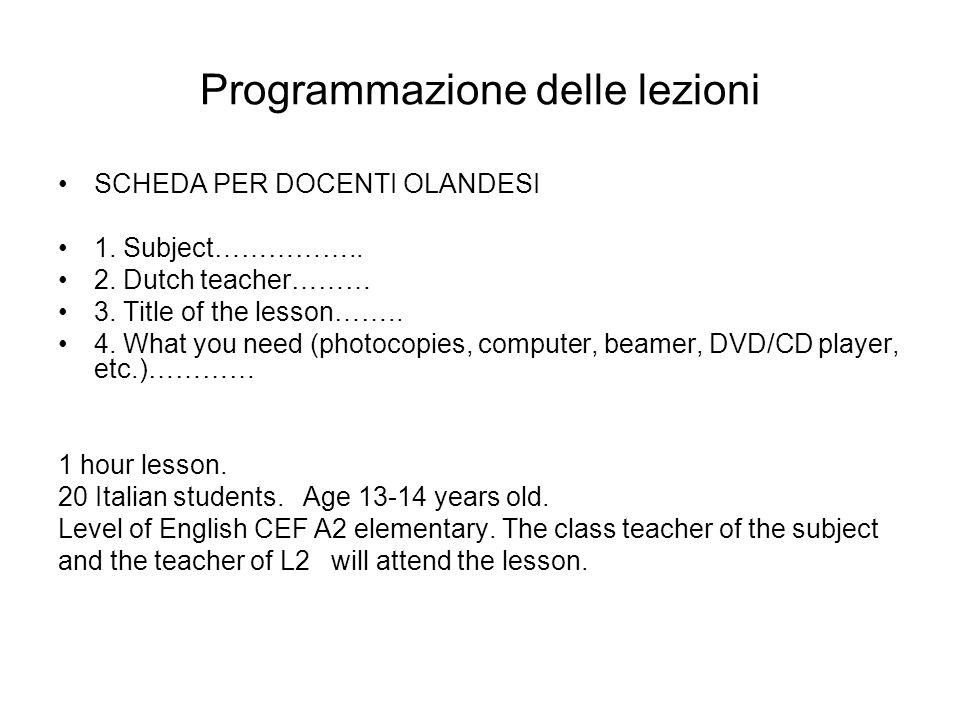 Programmazione delle lezioni