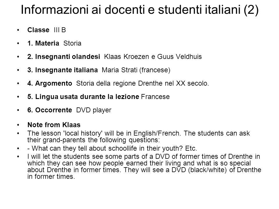 Informazioni ai docenti e studenti italiani (2)