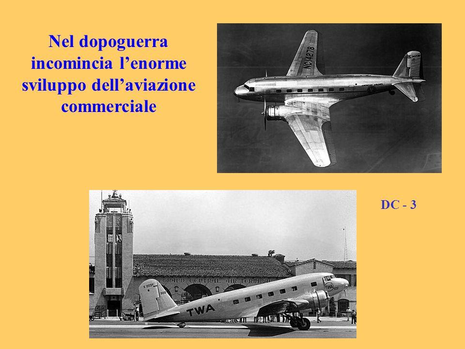 Nel dopoguerra incomincia l'enorme sviluppo dell'aviazione commerciale