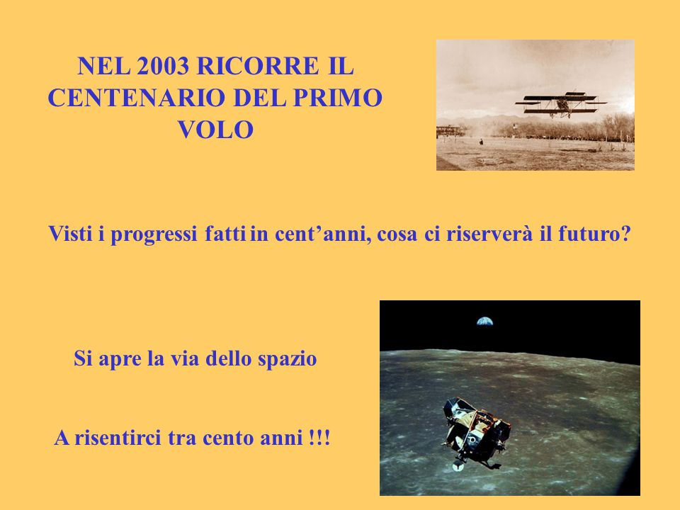 NEL 2003 RICORRE IL CENTENARIO DEL PRIMO VOLO