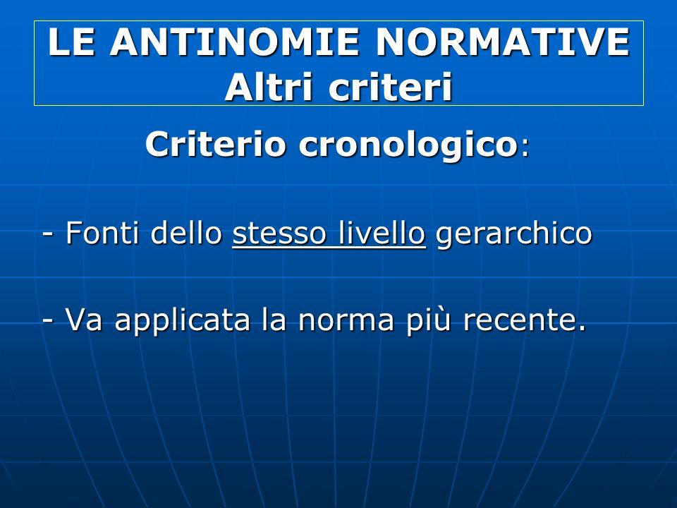 LE ANTINOMIE NORMATIVE Altri criteri