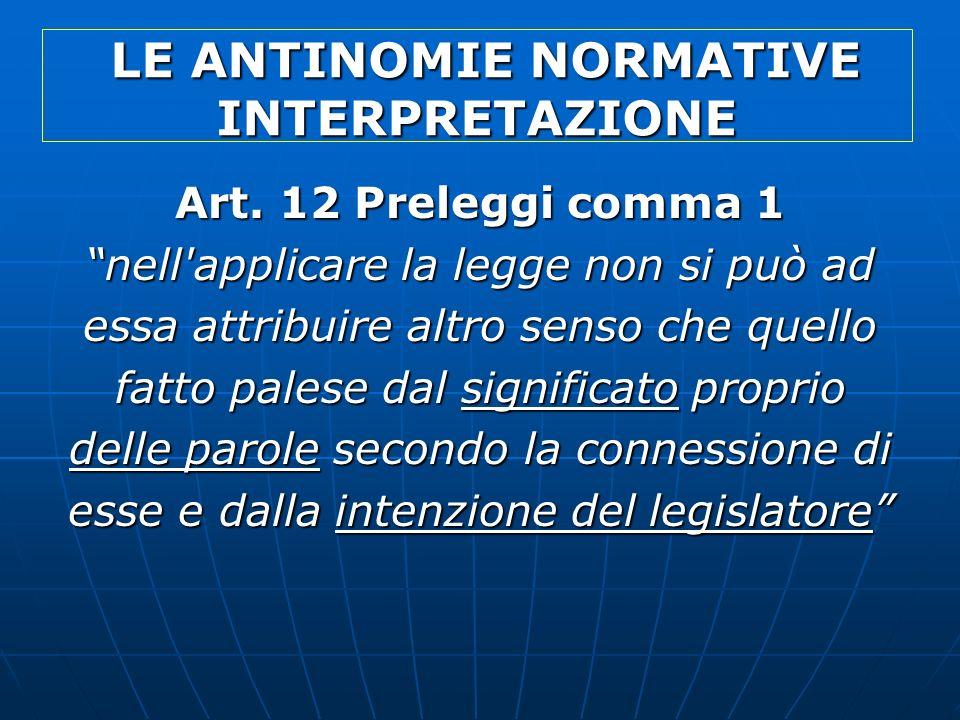 LE ANTINOMIE NORMATIVE INTERPRETAZIONE