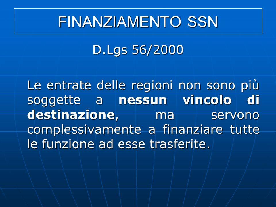 FINANZIAMENTO SSN D.Lgs 56/2000