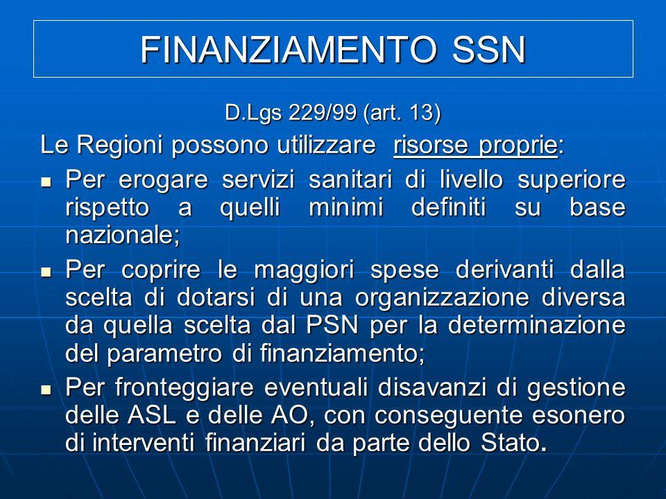 FINANZIAMENTO SSN Le Regioni possono utilizzare risorse proprie: