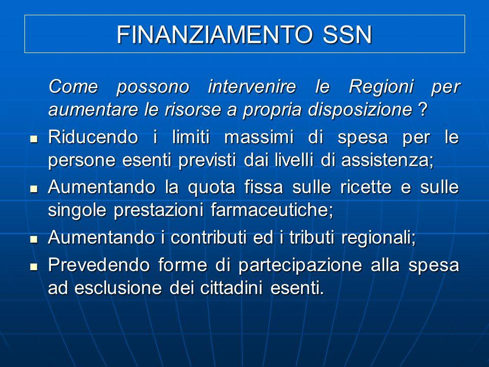 FINANZIAMENTO SSN Come possono intervenire le Regioni per aumentare le risorse a propria disposizione