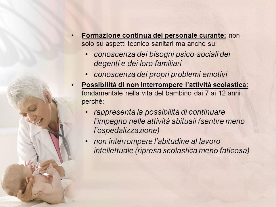 conoscenza dei bisogni psico-sociali dei degenti e dei loro familiari