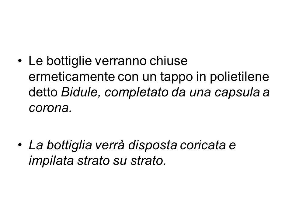 Le bottiglie verranno chiuse ermeticamente con un tappo in polietilene detto Bidule, completato da una capsula a corona.