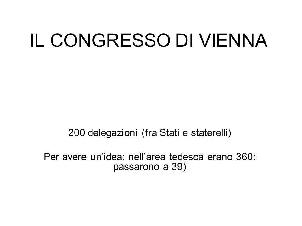 IL CONGRESSO DI VIENNA 200 delegazioni (fra Stati e staterelli)