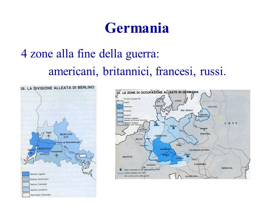 Germania 4 zone alla fine della guerra: