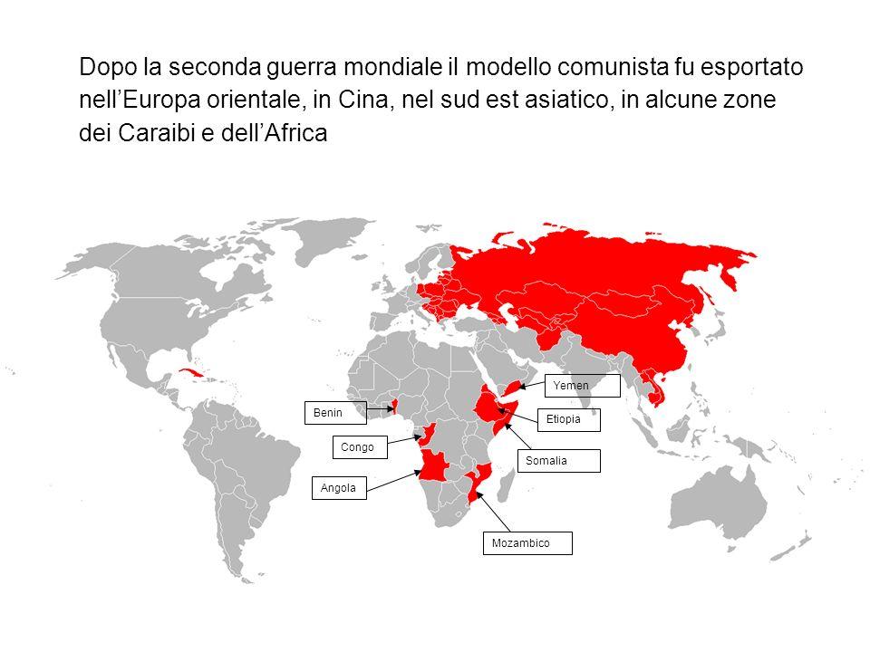 Dopo la seconda guerra mondiale il modello comunista fu esportato nell'Europa orientale, in Cina, nel sud est asiatico, in alcune zone dei Caraibi e dell'Africa