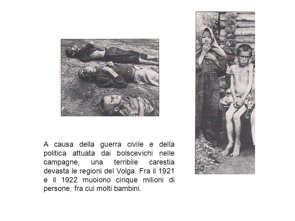 A causa della guerra civile e della politica attuata dai bolscevichi nelle campagne, una terribile carestia devasta le regioni del Volga.