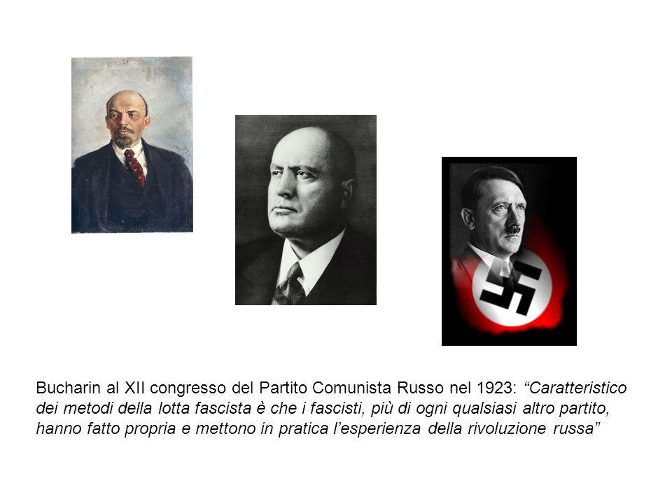 Bucharin al XII congresso del Partito Comunista Russo nel 1923: Caratteristico dei metodi della lotta fascista è che i fascisti, più di ogni qualsiasi altro partito, hanno fatto propria e mettono in pratica l'esperienza della rivoluzione russa