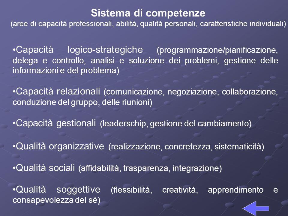 Sistema di competenze (aree di capacità professionali, abilità, qualità personali, caratteristiche individuali)