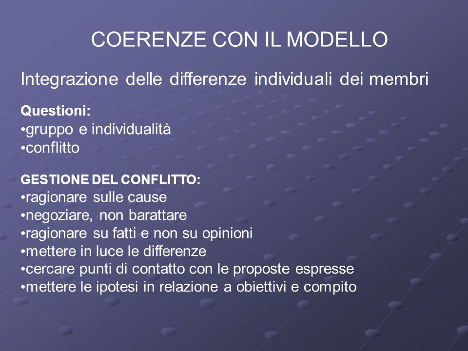 COERENZE CON IL MODELLO