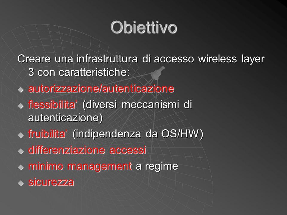 Obiettivo Creare una infrastruttura di accesso wireless layer 3 con caratteristiche: autorizzazione/autenticazione.