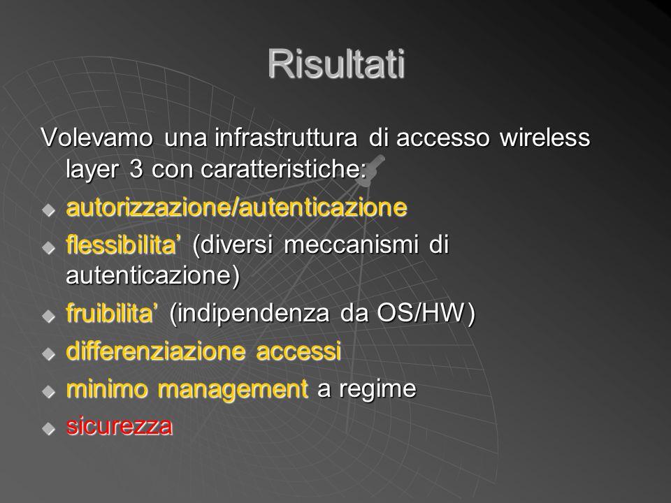 Risultati Volevamo una infrastruttura di accesso wireless layer 3 con caratteristiche: autorizzazione/autenticazione.
