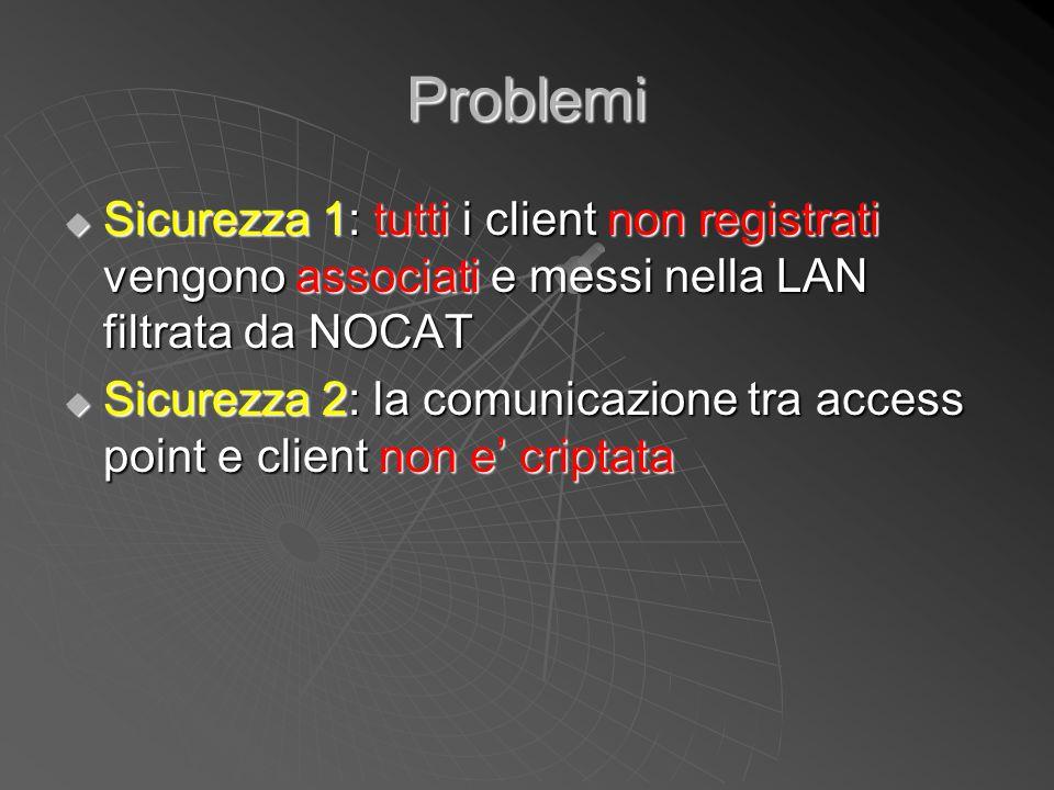 Problemi Sicurezza 1: tutti i client non registrati vengono associati e messi nella LAN filtrata da NOCAT.