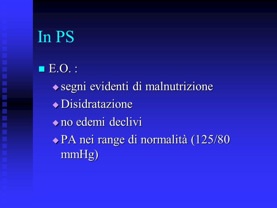 In PS E.O. : segni evidenti di malnutrizione Disidratazione