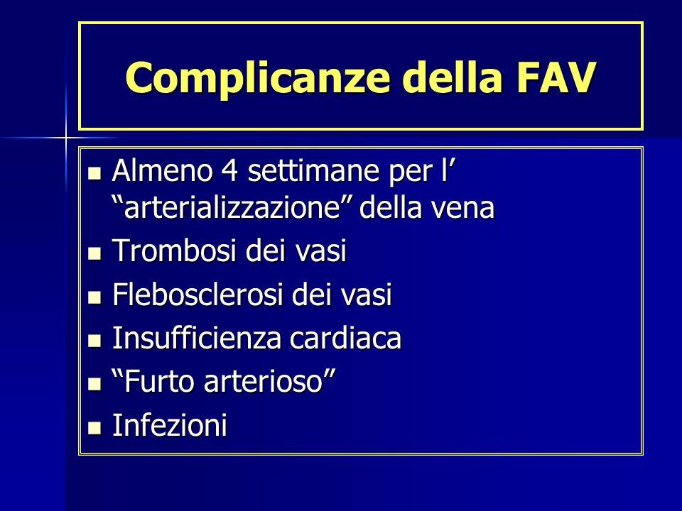 Complicanze della FAV Almeno 4 settimane per l' arterializzazione della vena. Trombosi dei vasi.