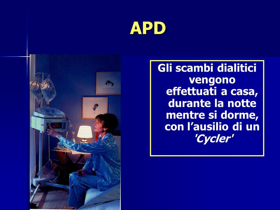 APD Gli scambi dialitici vengono effettuati a casa, durante la notte mentre si dorme, con l'ausilio di un Cycler