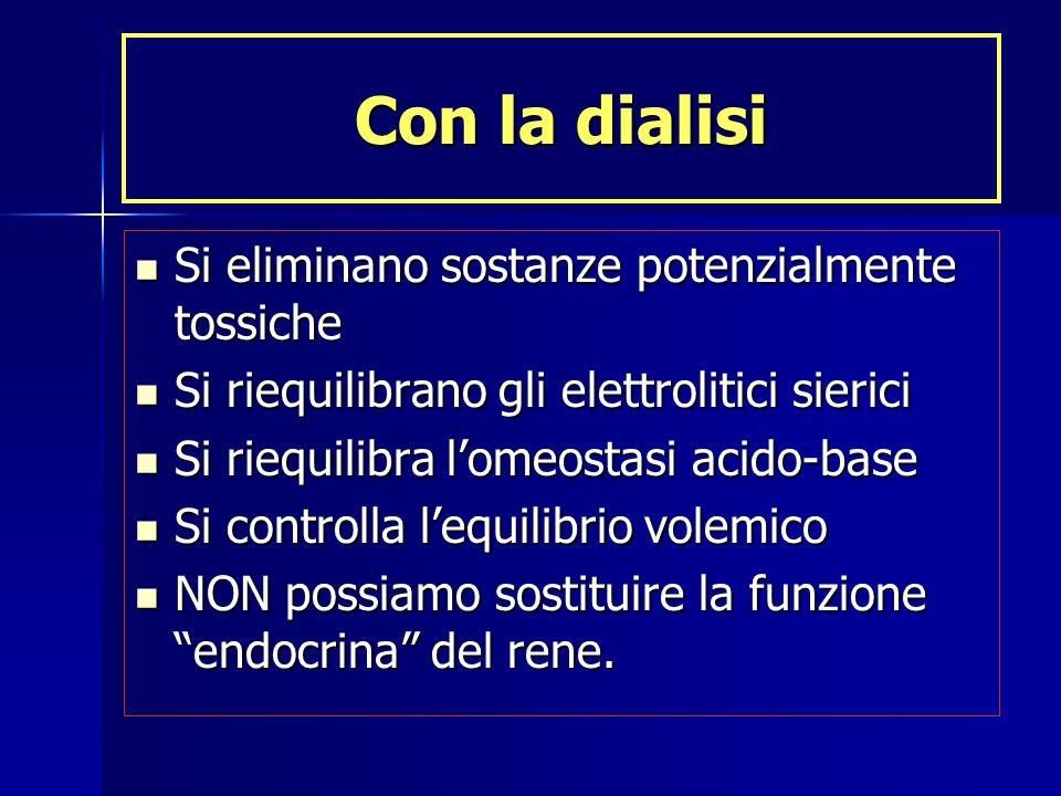 Con la dialisi Si eliminano sostanze potenzialmente tossiche