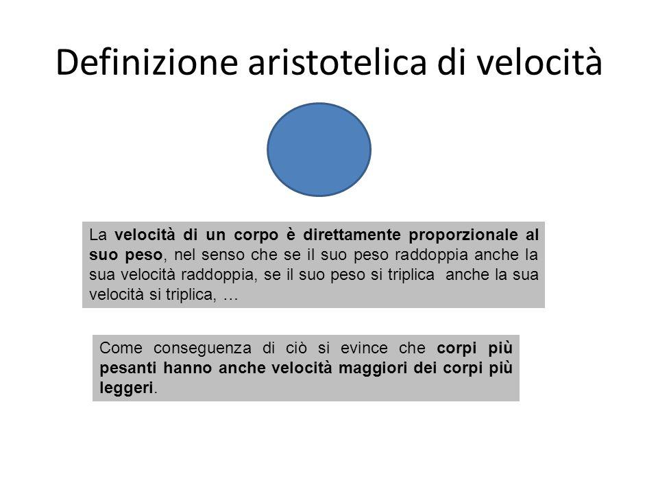 Definizione aristotelica di velocità