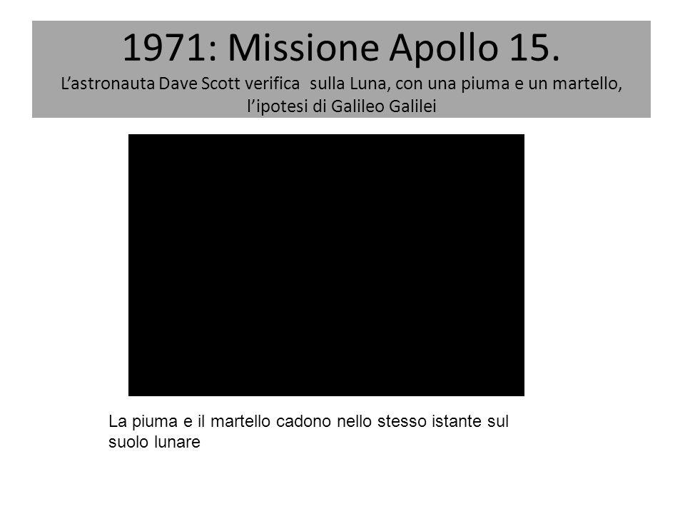 1971: Missione Apollo 15. L'astronauta Dave Scott verifica sulla Luna, con una piuma e un martello, l'ipotesi di Galileo Galilei