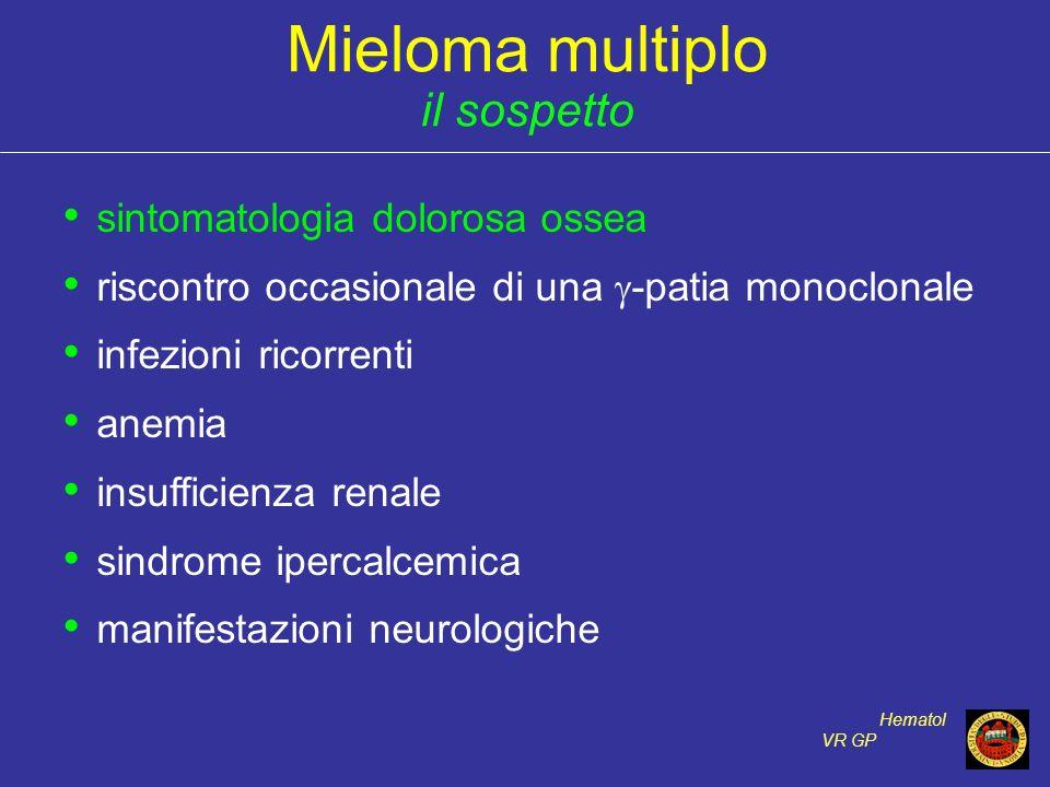 Mieloma multiplo il sospetto sintomatologia dolorosa ossea