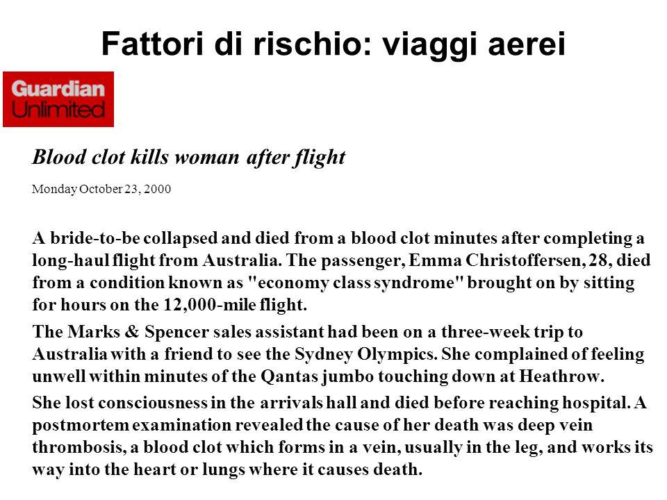 Fattori di rischio: viaggi aerei