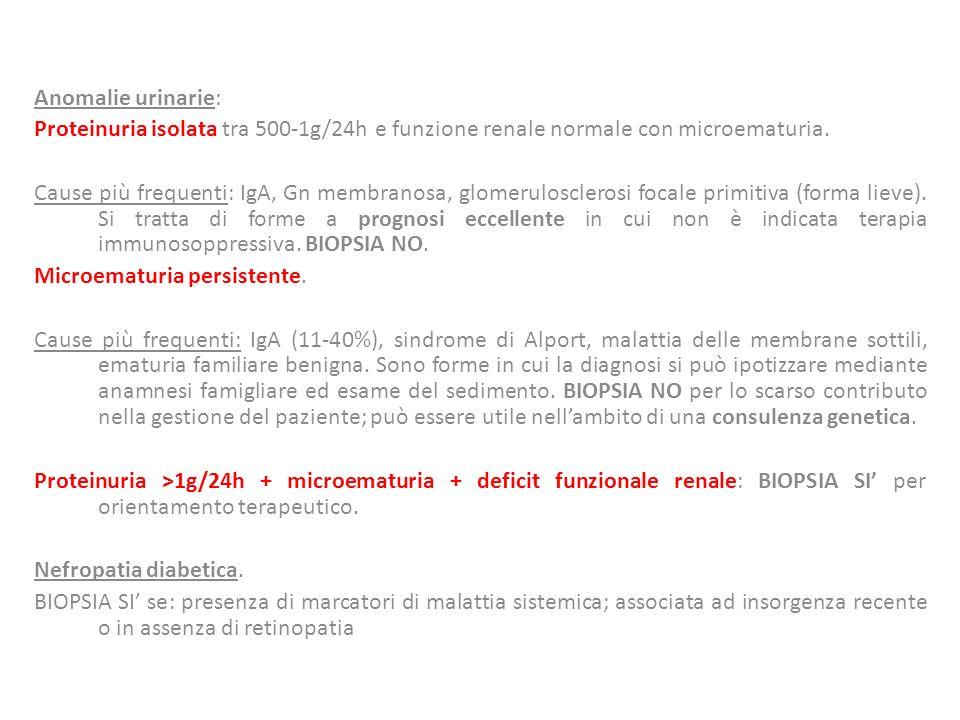 Anomalie urinarie: Proteinuria isolata tra 500-1g/24h e funzione renale normale con microematuria.