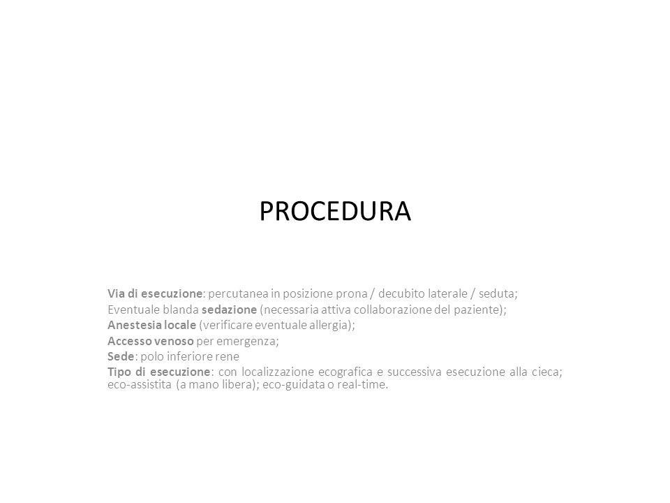 PROCEDURA Via di esecuzione: percutanea in posizione prona / decubito laterale / seduta;