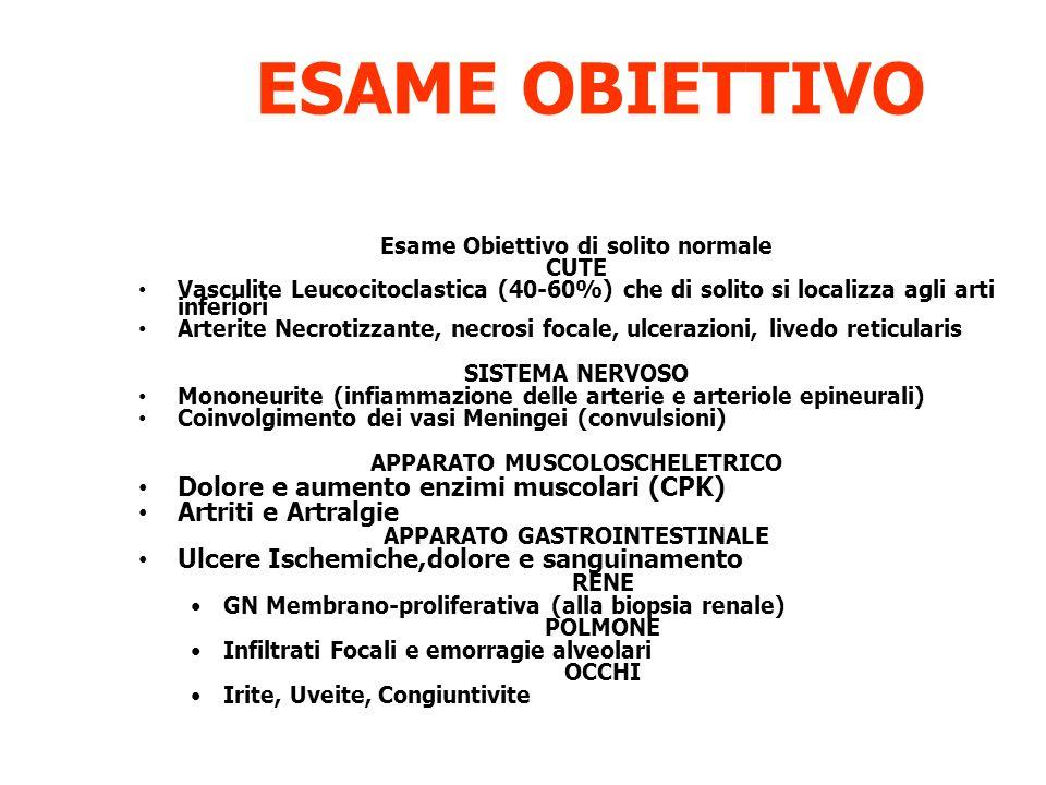 ESAME OBIETTIVO Dolore e aumento enzimi muscolari (CPK)