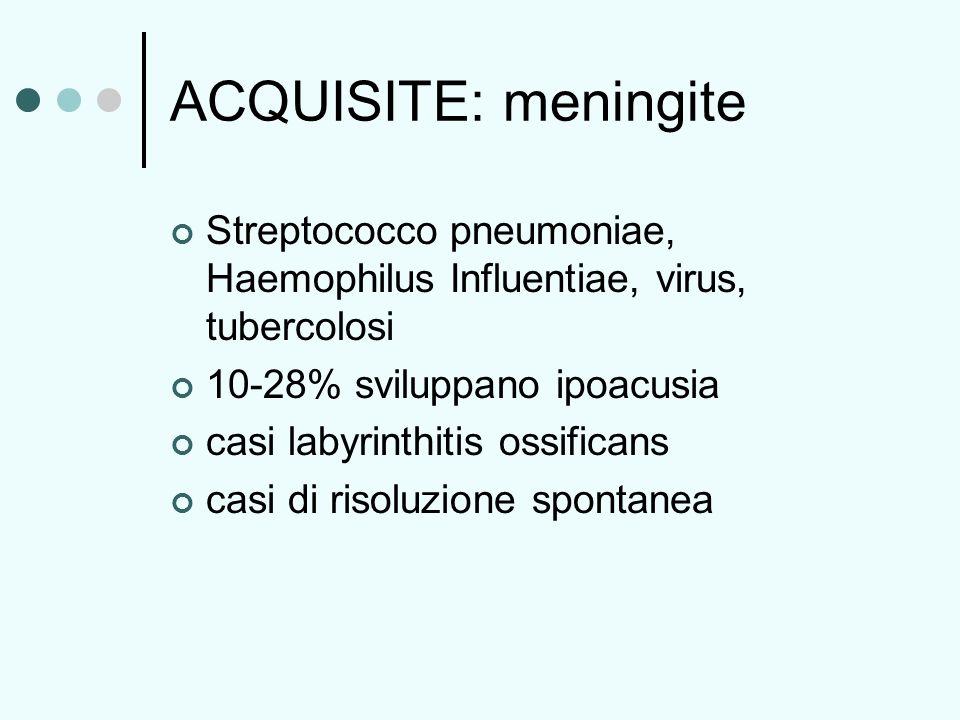 ACQUISITE: meningite Streptococco pneumoniae, Haemophilus Influentiae, virus, tubercolosi. 10-28% sviluppano ipoacusia.