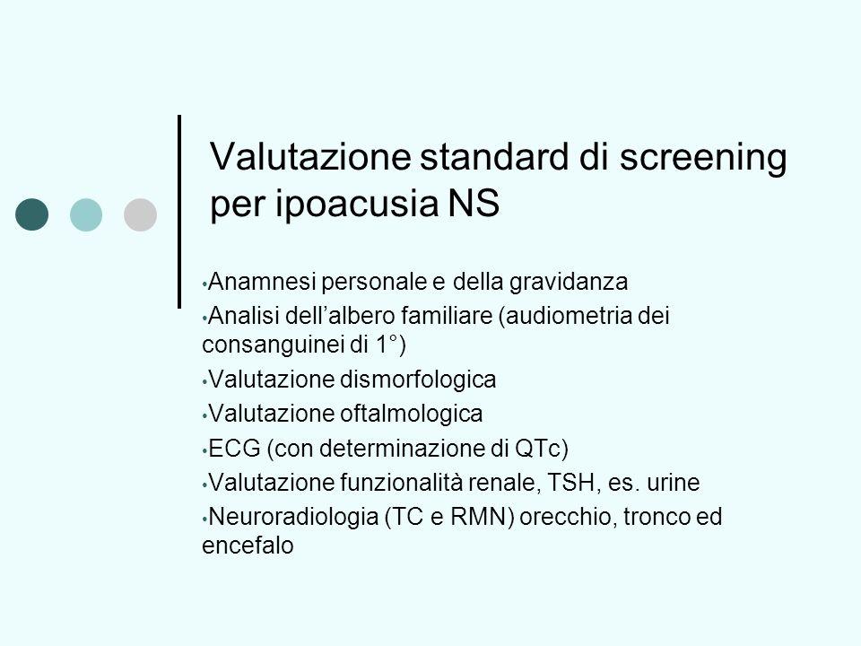 Valutazione standard di screening per ipoacusia NS