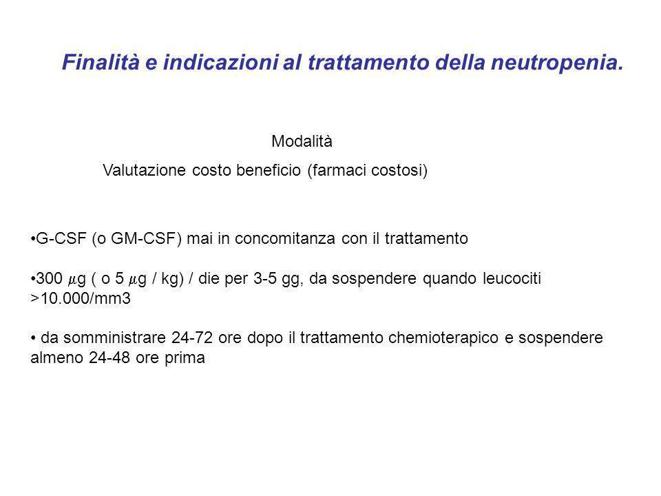 Finalità e indicazioni al trattamento della neutropenia.