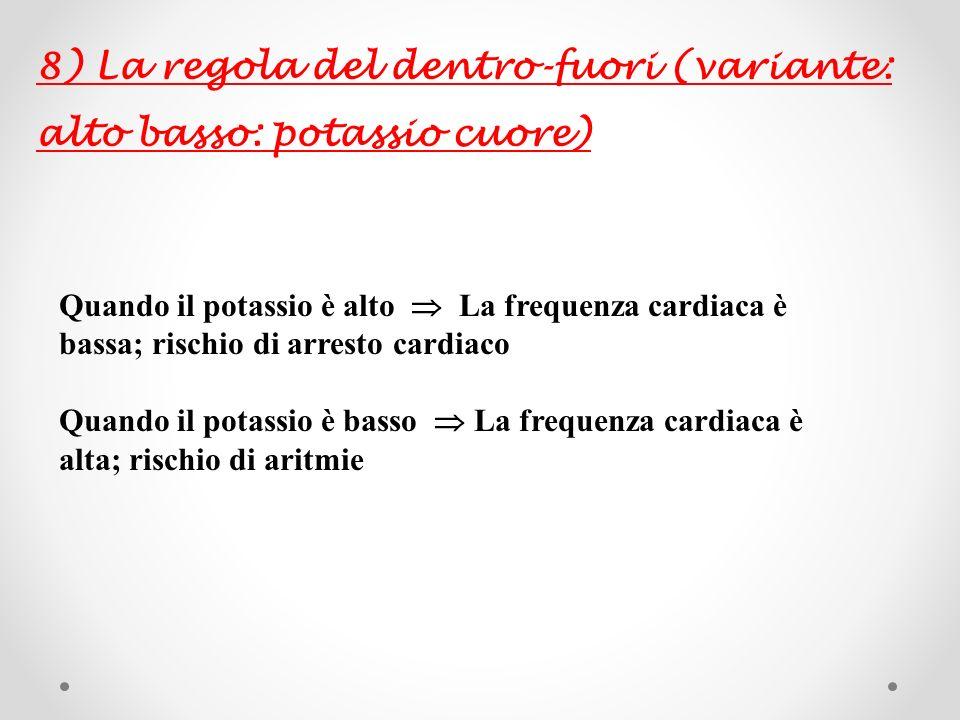 8) La regola del dentro-fuori (variante: alto basso: potassio cuore)